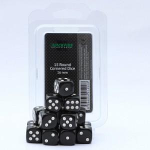 Blackfire Dice - 16mm D6 Dice Set - Black (15 Dice)