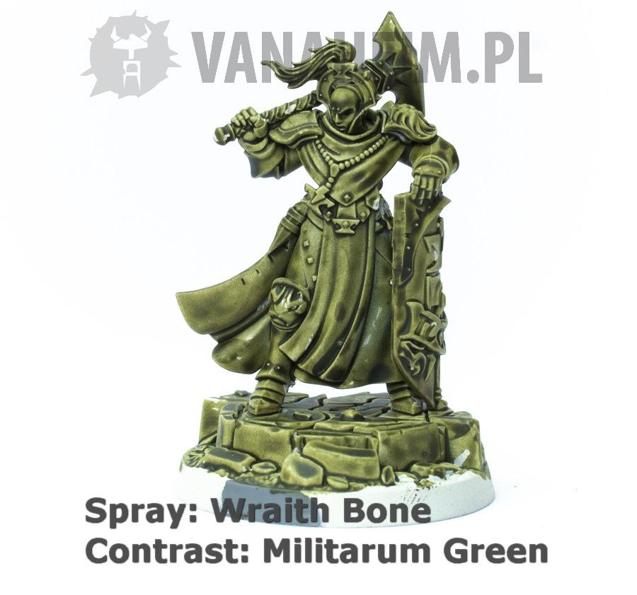 Citadel Contrast: Militarum Green on Wraith Bone
