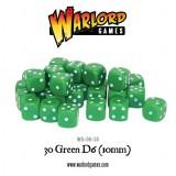 Kości Warlord: 30 Green D6 (10mm)